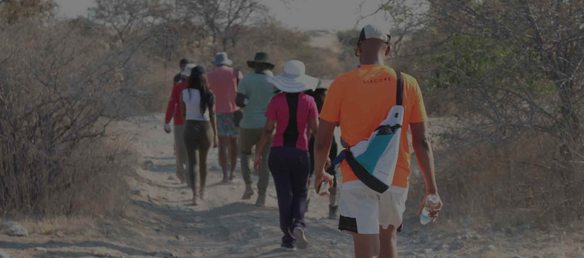 Batswana walking at the Makgadikgadi Pans